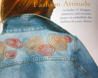 Very Nice Kit to Embellish Clothes and Accessories with Embroidery---Eleven Iron-On Transfers and Directions Included---NEW and UNUSED