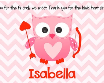 Valentine's Day Personalized Placemat - Kids Owl Placemat - Valentine Placemat - Childs Owl Placemat - Cupid Placemat - Valentine Gift Girl
