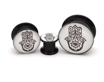 Black Acrylic Hamsa Picture Plugs gauges - 8g, 6g, 4g, 2g, 0g, 00g, 7/16, 1/2, 9/16, 5/8, 3/4, 7/8, 1 inch