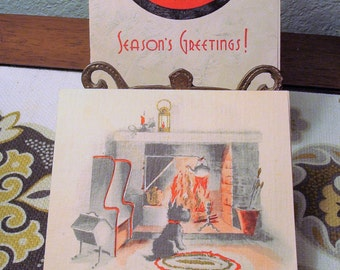 Vintage Pair of Red & Black Christmas Cards - Silver, Gold Accents - Great Vintage Condition!!