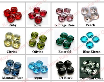 12x12 Cushion Cut Glass Jewel Double Faceted Checker Modified Square- 2pcs