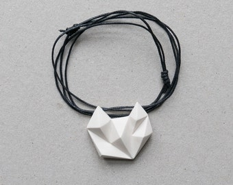 White minimalist geometric triangle necklace. natural cotton chain. minimal cat fox animal shape