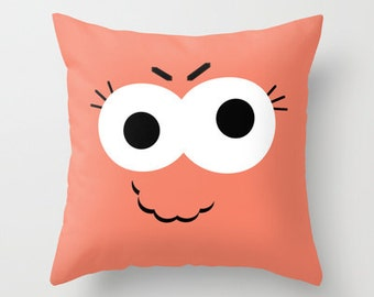 Orange Kid's Monster Throw Pillow Cover Includes Pillow Insert - Little Orange Monster - Childs Room Pillow - Kids Pillow - Made to Order