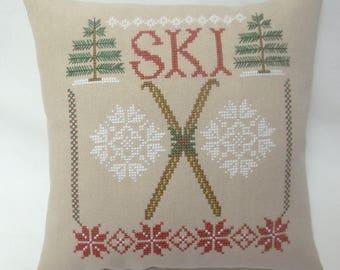 Ski Cross Stitch Mini Pillow, Winter Sport Shelf Pillow, Gift For Skier, Snowflakes, Evergreen Trees