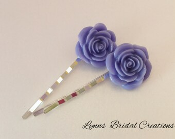 Violet Hair Pin Purple Rose Jewelry Violet Hair Accessory Wedding Bobby Pin Bridal Jewelry Bridesmaid Gift Rose Hair Accessory