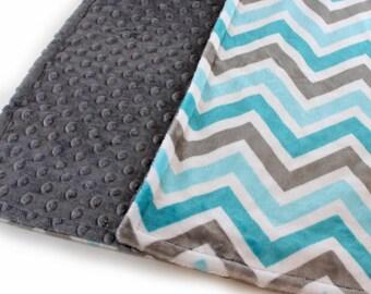 Chevron Minky Baby Blanket Baby Boy, Charcoal Gray Teal Personalized Baby Blanket, Stroller Blanket, Chevron Blanket, Baby Shower Gift