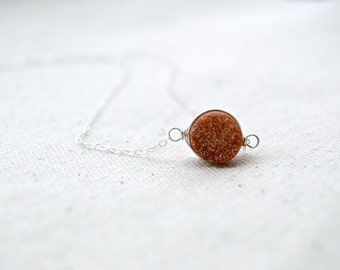 orbit... silver druzy necklace / dusty rose gold druzy quartz & sterling silver necklace / drusy