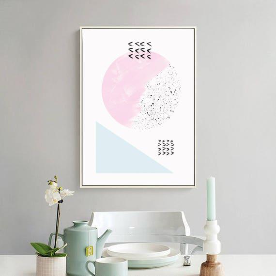 DOUX PRINTEMPS #4/ Abstract art, 24x36, minimalist art print, Scandinavian style, nordic design, pink, blue