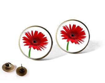 Earrings Tokyo red, Gerbera Daisies, nature, Garden, glass cabochon