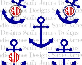 Anchor Monogram Split SVG and Silhouette Studio cutting file, Instant Download
