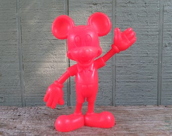 """Vintage Louis Marx Disney Mickey Mouse Red Plastic Mickey Mouse 6"""""""