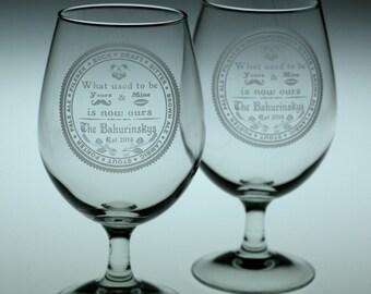 Custom HomeBrew Wedding set of 2 Glasses with Beer Names design. Homebrew, , wedding gift