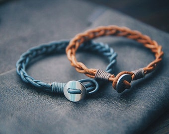 Leather Bracelet, Leather Woven Bracelet, Leather Braid Bracelet, Men's leather gift