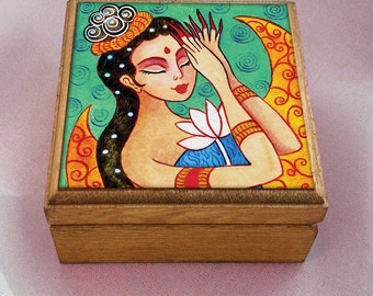 Fairy art box, geisha box, mermaid box, fantasy art, whimsical girl, wooden gift box, jewelry box, 3.5x3.5+