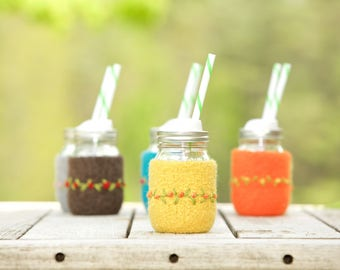 Pint size Felted wool mason jar cozy set light gray pint size