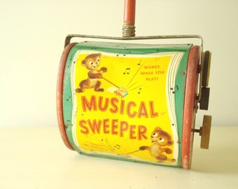 1950s Fisher Price musical carpet sweeper, Just Like Mother's, child's litho metal toy, collectible vintage toy, pretend play for toddlers