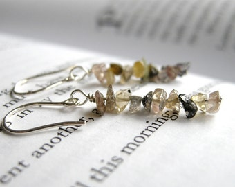 Delicate Harvest Earrings - Multicolor Tourmaline Sterling Silver Ear Wires / Autumn Jewelry, Earthy Neutral Colors, October Birthstone