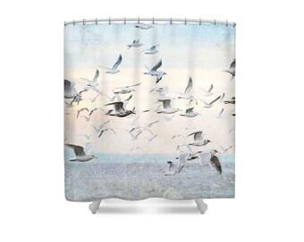 Beach Shower Curtain, Bird Shower Curtain, Seagulls, Pastel Bathroom, Bathroom Decor, Ocean Shower CurtainPastel Bath Decor,