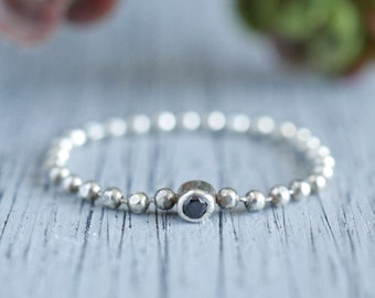 Sterling Silver Ball Chain Bezel Ring