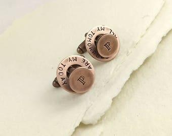 Copper anniversary, Copper gift, Copper, 7th anniversary gift, Copper gift for him, Copper cufflinks, Personalized cuff links, cufflinks