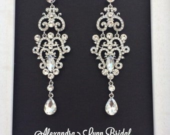Silver Vintage Bridal Earrings, wedding accessories, Jewelry Chandelier Earrings, Silver Bridal Jewelry, Statement Earrings, Bridesmaid gift