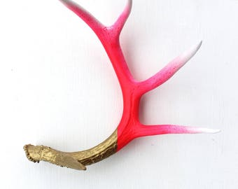 Antler Art : White, Hot Pink and Gold, Large