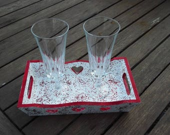 Rectangular plate + 2 flutes special Valentine's day