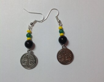 Elegant Beaded Earrings, Caribbean inspired Earrings, Tree of Life Earrings