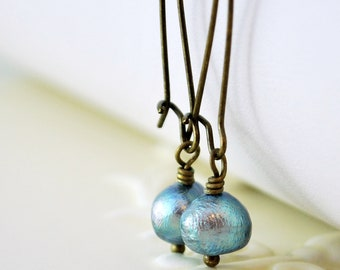 Antiqued Brass Earrings, Denim Blue, Genuine Freshwater Pearl, Woodland, Simple, Wire Wrapped, Kidney Earwires, Fall Jewelry, Free Shipping