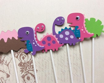 12 Sweet and Adorable Detailed Dinosaur Cupcake toppers/Girl Birthday Toppers/Girl Dinosaur Toppers/Party Favors/Party Decoration