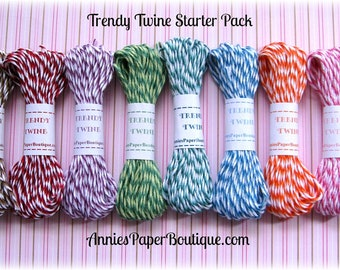 Trendy Bakers Twine Starter Sampler - Pink, Purple, Red Yellow, Blue, Teal, Black, Brown, Green, Orange - For Crafting, Packaging, Gift Wrap