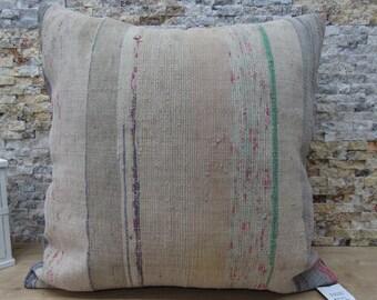 striped colorful kilim pillow 28x28 rare kilim handwoven kilim cushion vegetable dyed throw pillow kilim pillow ottoman pillow code 038