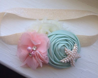 Mint Gold and Coral Baby Flower Headband, Newborn Headband, Baby Girl Flower Headband, Mint headband, Beach Headband, Photography Prop