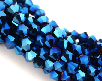 Faceted crystal glass blue metal bicone 4mm PFO2016A6 110 beads