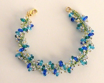 Spiral Loop Bracelet in blue and green