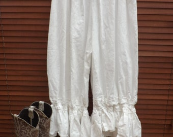 All SizesPlus & Regular RitaNoTiara snow white pearl trousers boho quirky Lagenlook Prairie Natural European Linen ruffle bloomers trousers