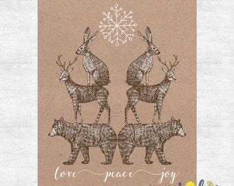love peace joy holiday cards / Rustic Christmas cards  / Woodland Christmas / Holiday card set / printed cards