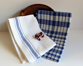French Vintage Tea Towels, Kitchen Towels, Blue & White Tea Towels, Blue Checked Cotton Tea Towels, Set of 2 Tea Towels, CHRISTMAS GIFT,
