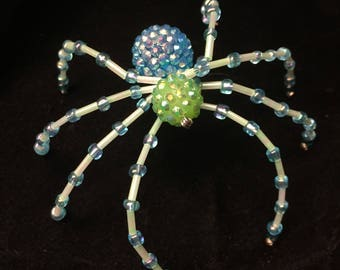 Blue and Green Disco Ball Spider Ornament