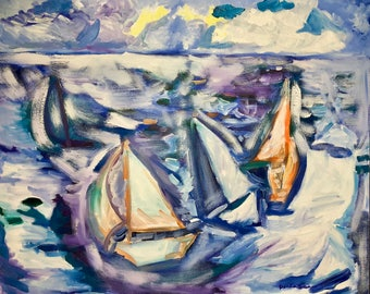 Sailboats ocean modern impressionist blue,teal,purple,yellow,gray Original Oil Painting 24 x 30 inch on stretched canvas by BrandanC