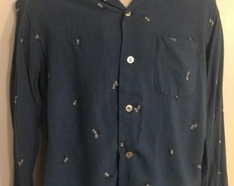 1950s Rockabily Long Sleeve Pattern Shirt