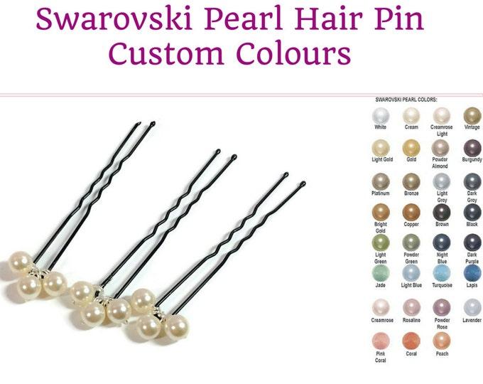 3 hair pins, any colour, bridesmaids, Bridal Pearl or crystal Bobby pin, cream, , blush  blue, bride hair bridesmaid flower girl,