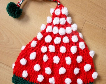 6 to 12m SUMMER Baby Hat Pom Pom Beanie - Crochet Pixie Elf Hat Red Green White Baby Hat Photo Prop Photo Prop  Christmas Baby Gift