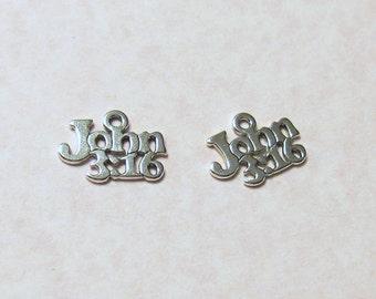 Christian Charms - John 3:16 - 4 pcs. - Antiqued Silver Pendant