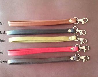 Keyfob leather wristlet strap with hook-- ASEISMANOS