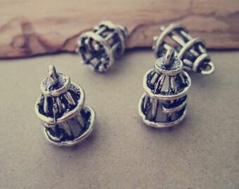 20pcs  Antique silver  Birdcage  Charms 10mmx18mm