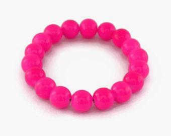 Neon Pink Pearl Stretch Bracelet, Fun Funky Bright Summer Bracelet, Faux Pearl Bracelet