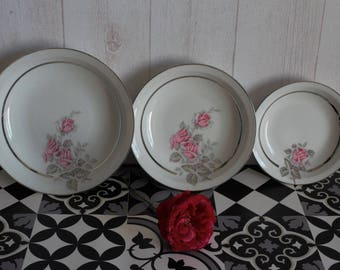 3 dishes of service patterned porcelain roses, 60's. France.