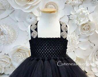 Black Tutu Dress-Black Fancy Tutu Dress-Black Girls Dress-Black Flower Girl Tutu Dress-Black Dress-Black Wedding Dress-Black Baby Dress