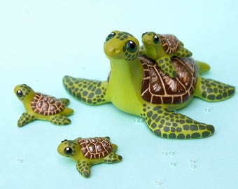 Sea Turtle mama with babies